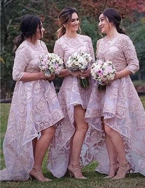 Modest Lace High Low Bridesmaid Dresses 2018 Jewel Half Sleeves Maid Of Honor Gowns Custom Made Prom Wedding Guest Dress Non Traditional Bridesmaid Dresses Print Bridesmaid Dresses From One Stopos, $120.26| DHgate.Com