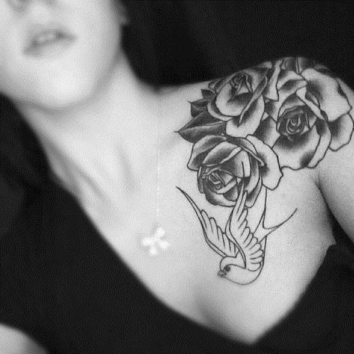 Shoulder White Bird and Black Rose Tattoos for Women