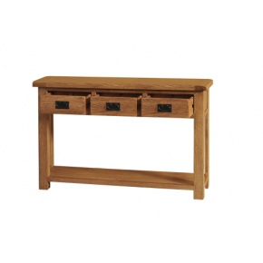 Rustic Solid Oak SRDT25 Console Table 3 Drawer  www.easyfurn.co.uk
