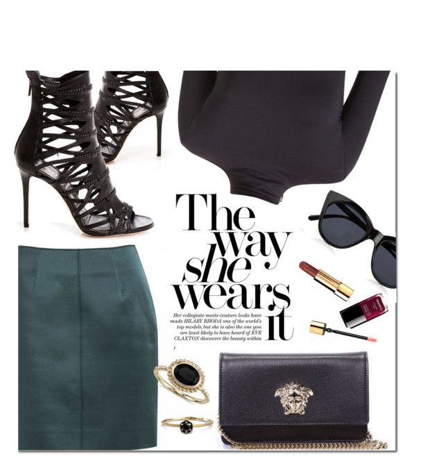 """The Way She Wears It"" by firstboutique ❤ liked on Polyvore featuring Versace, Le Specs, Blue Nile and black"