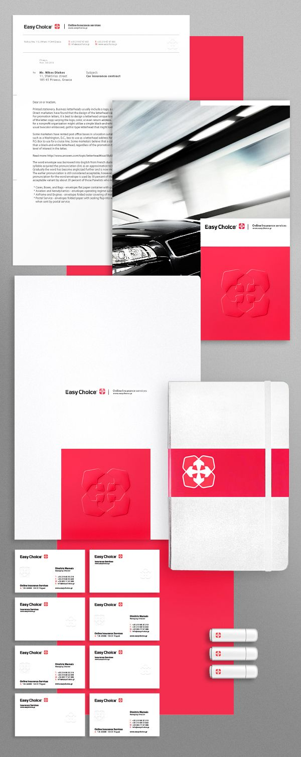 Love this corporate identity for Easy Choice™ Insurance (sample). Love seeing great design for typically boring industries.