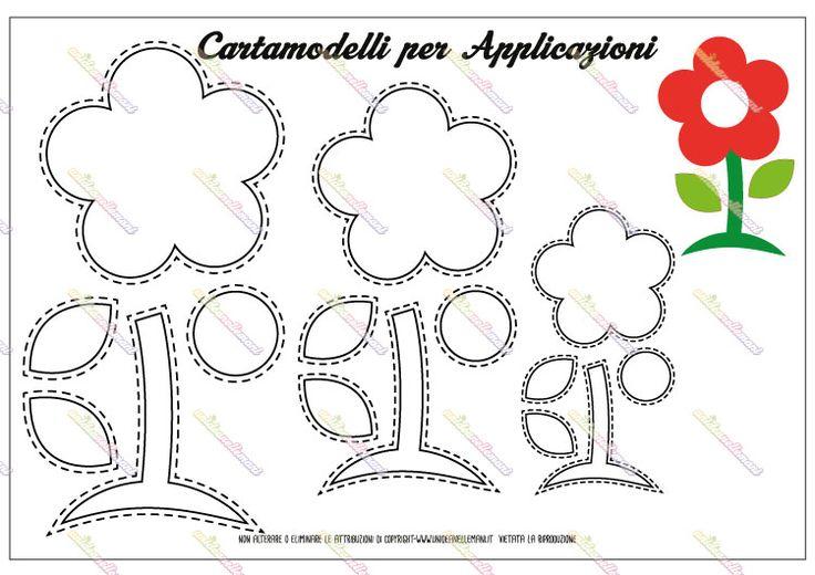 Cartamodello sagoma margherita: 3 disegni di margherita (grande, medio e piccolo) da stampare e ritagliare per lavoretti creativi in stoffa, feltro o carta.