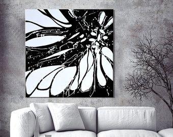 Grande dipinto astratto, bianco e nero dipinto su tela, dipinto moderno minimalista, grande parete astratta arte della mano