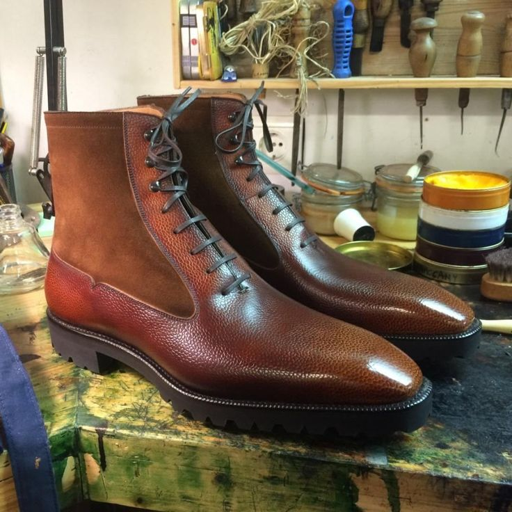 Autumm is arriving!  #ateliernormanvilalta MTO Balmoral with Norman 3D patina in cognac and suede.  #shoes#boots#balmoral#MTO#leather#artisan#shoemaker#style#barcelona#gentleman#grainleather#3D#patina