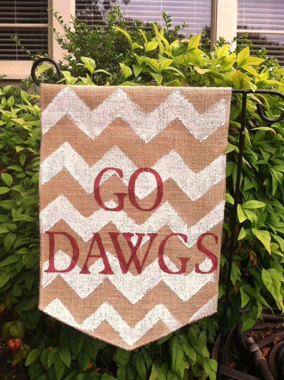 Go Dawgs Burlap Garden Flag with white by ModernRusticGirl on Etsy
