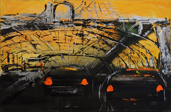 "Mina Papatheodorou Valyraki: ""Black tunnel yellow backround"", 2011"