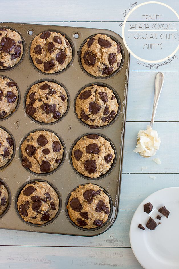 Healthy Banana Coconut Chocolate Chunk Muffins {GF, Dairy-Free Option, No Added Sugar}