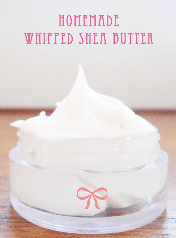 Homemade Whipped Shea Butter: 2 parts Shea Butter + 1 part Coconut Oil + 1 part Sweet almond oil. Melt, cool in a freezer, add some essential oils and whip it using electric mixer. The best go-to for extremely dry or irritated skin.