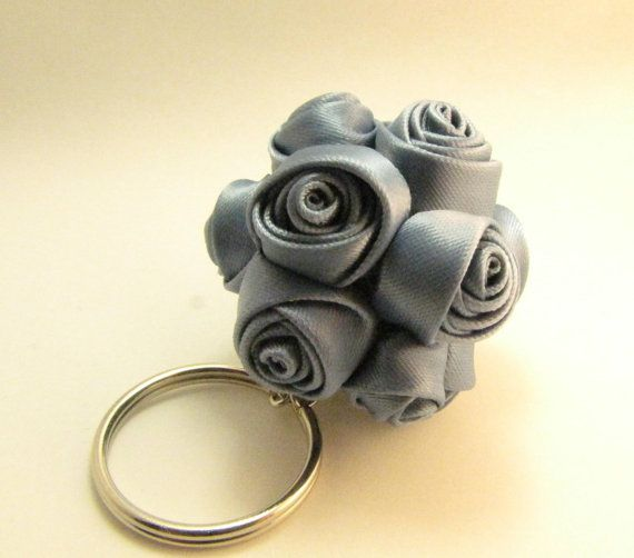 Antique blue roses ball keychain