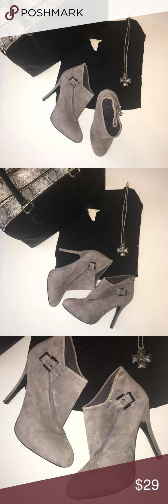 "Colin Stuart Suede Heels NWOT, gorgeous gray suede ankle boots with silver time buckle. Approx 4"" heel. Super-cute!!! Colin Stuart Shoes Ankle Boots & Booties"