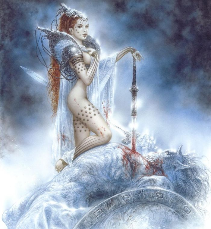 The armor of this chick is extremely pretty. I like the silver glown in this illustration. Luis Royo's handywork, by the way.