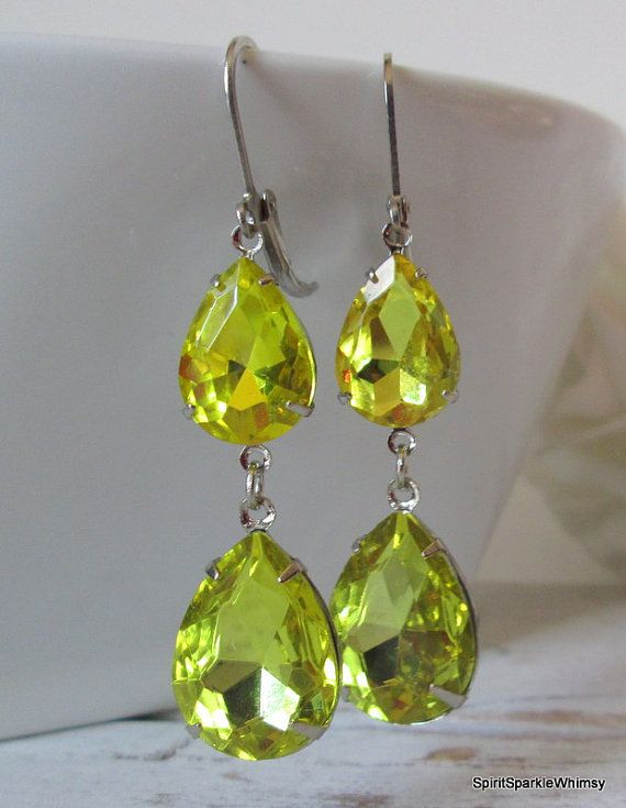 Yellow Earring Topaz Earring  Rhinestone by SpiritSparkleWhimsy