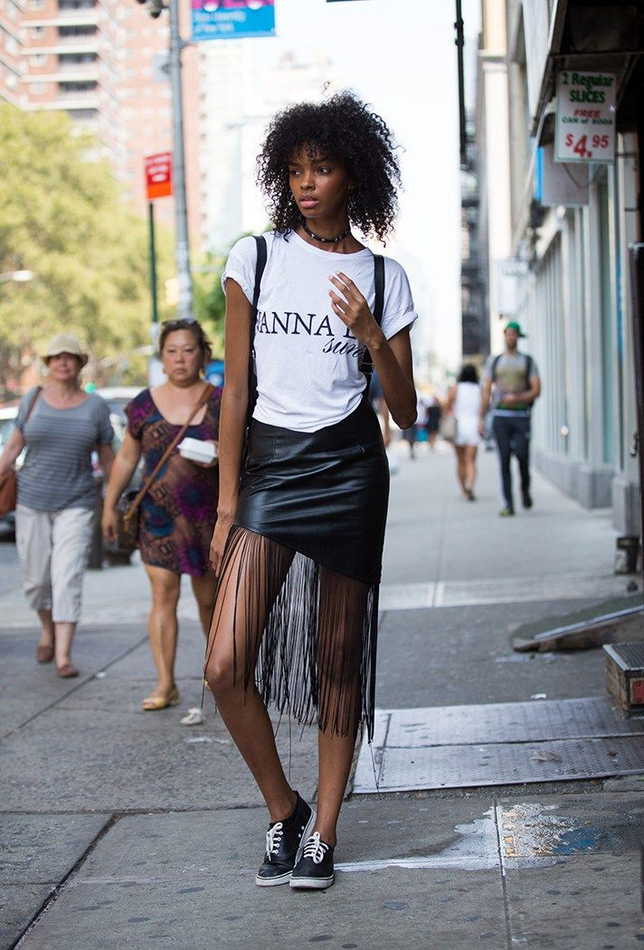 NYFW: The Best Fall Outfits from the Spring 2017 Runway Shows | Street Style | New York Fashion Week | Fringe skirt + graphic t-shirt and sneakers