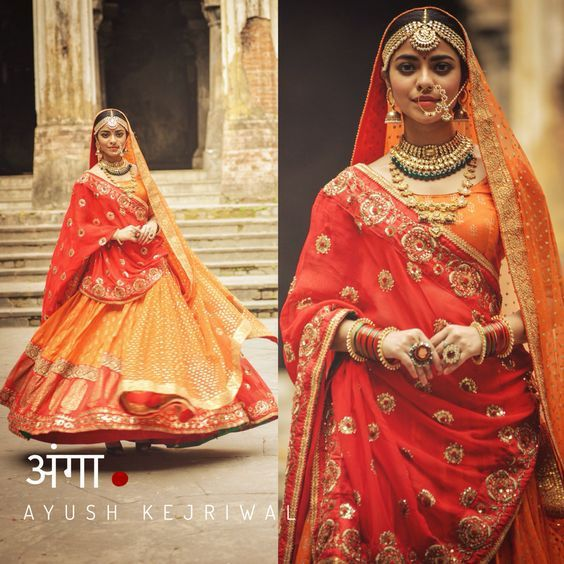 Love the orange red bridal lehenga by Ayush Kejriwal #AyushKejriwal #Frugal2Fab
