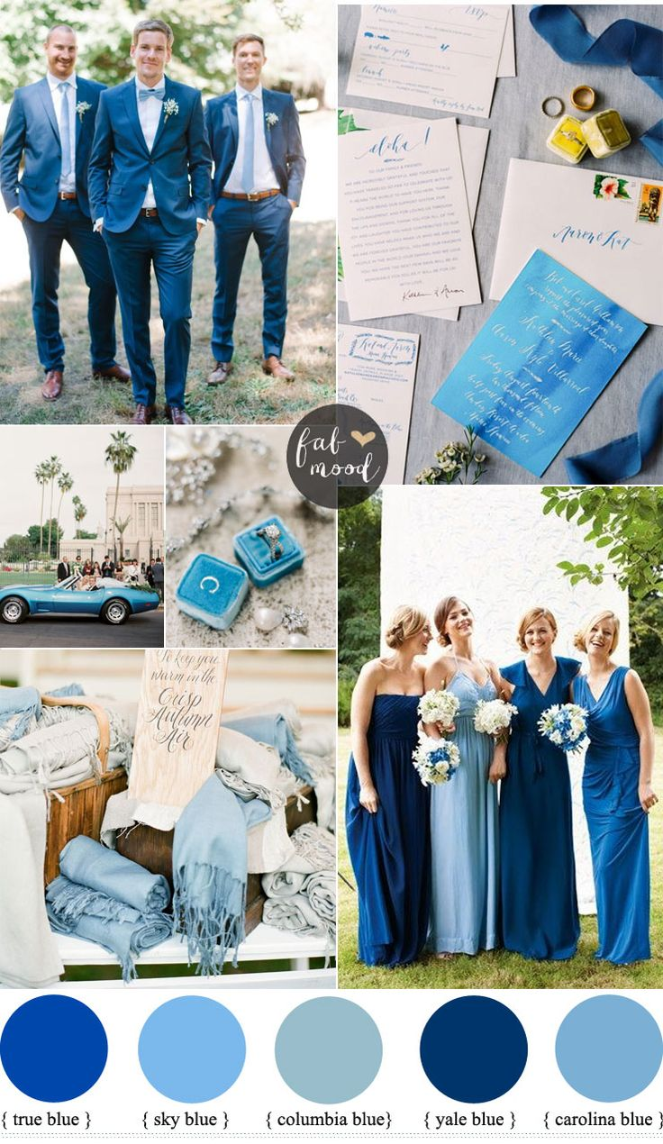 Mismatched blue bridesmaid dresses for a blue wedding theme + garden wedding ideas | fabmood.com