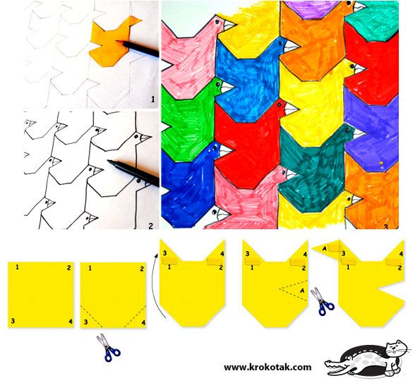Drawing Escher style - a shape repeated; http://www.artprojectsforkids.org/2008/02/mc-escher-tessellations.html
