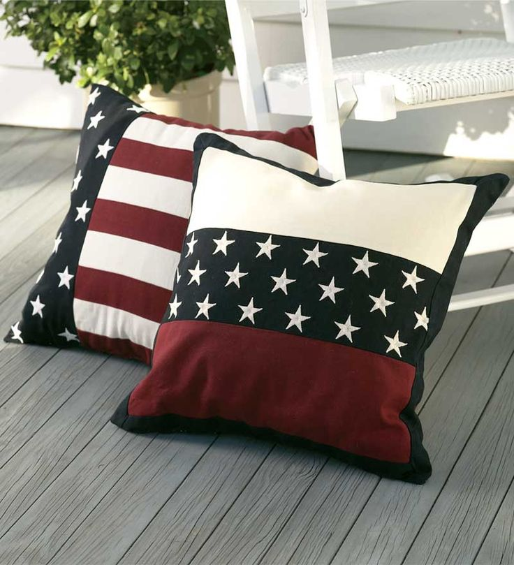 "Americana Flag and Star Bands Pillow - 18"" x 18"" square for Christian's Bedroom as a 12th night present."