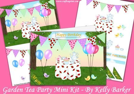 Garden Tea Party A5 card Decoupage Mini Kit on Craftsuprint designed by Kelly Barker - A beautiful scene of a garden tea party, complete with sweet birds, bunting and balloons. Perfect for any age, lots of sentiments included and decoupage elements to layer up. - Now available for download!