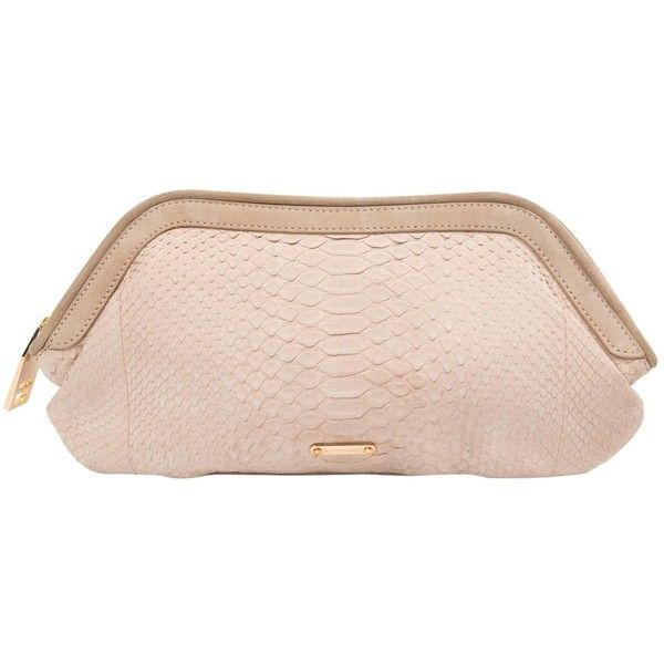 Pre-owned Burberry Clutch Bag (5.086.685 IDR) ❤ liked on Polyvore featuring bags, handbags, clutches, other, women bags clutch bags, zip purse, nude purses, nude clutches, python purse and pink clutches