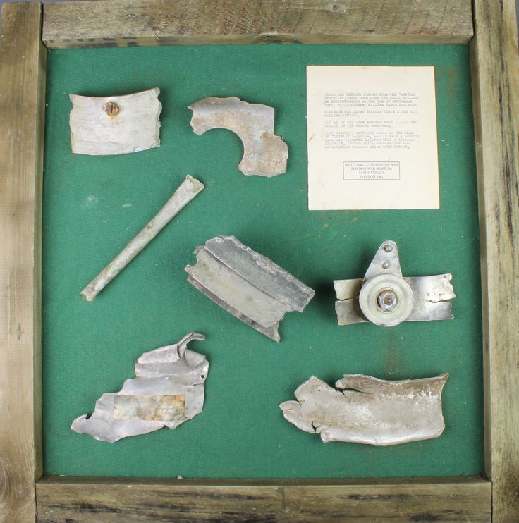 Lot 519, 	Of First World War Zeppelin interest, various pieces from Cuffley Zeppelin, shot down over Herefordshire on 3rd September 1916 by Lieutenant William Leefe Robinson, with Whitehall Theatre of War, London War Museum, 14 Whitehall, stamp, est £150-200