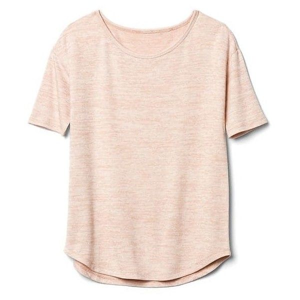 Gap Women Softspun Knit Half Sleeve Tee found on Polyvore featuring tops, t-shirts, shirts, t shirt, gap t shirts, boat neck t shirt, gap shirts and curved hem tee
