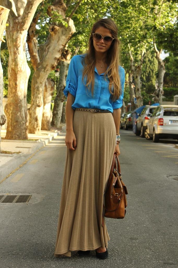 Blue Shirt & Long Skirt