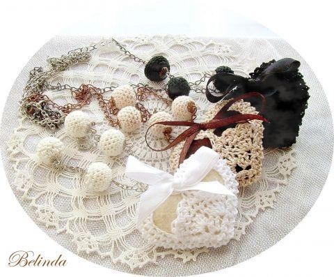 Necklace - crochet balls and hearts, Belinda, meska.hu, vintage