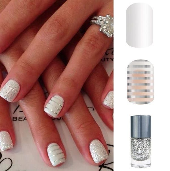 Jamberry Nail Wraps : White Out, Metallic Silver Stripes ...
