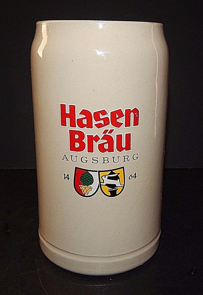 Superb Hasen Brau Augsburg 1464 Rabbit German Stoneware Mug Stein 1.0 L Vintage  Beer #HasenBrau