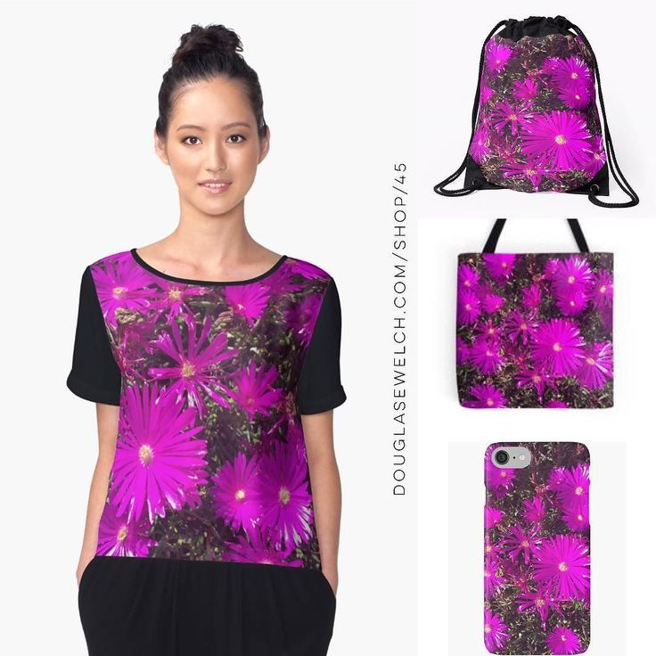 A Purple Explosion on Tops Totes Smartphone Cases and Much More!  Ice plant flowers practically glow in the sun in this photo from the neighborhood and direct from Instagram  Available exclusively from http://ift.tt/2i1uX76 http://ift.tt/2q7Imys (Direct Link)  Chiffon Top Features  Front panel is edge-to-edge custom printed just for you  Sublimation transfer print technique embeds dye into the fabric allowing it to stay soft and drapey  Option of black or white back panel sleeves and binding…