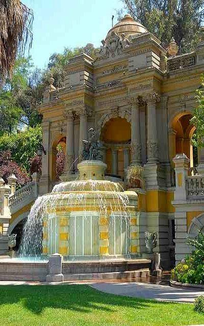 Terraza Neptuno water fountain at Cerro Santa Lucía, Santiago, Chile