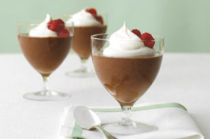 Double-Chocolate Mousse recipe-Think the foamy perfection of chocolate mousse can only be achieved at a restaurant? Think again. Top ours with COOL WHIP and fresh raspberries for an elegant dessert.
