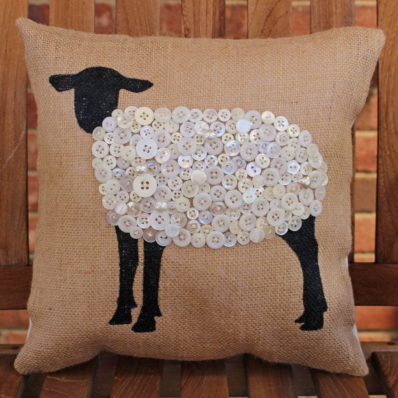Hand Painted Lamb on Burlap with Stitched Buttons Pillow Cover
