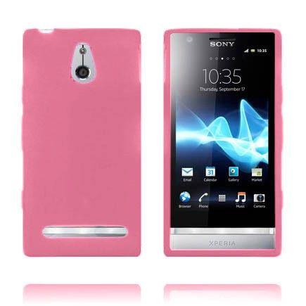 Soft Shell (Vaaleanpunainen) Sony Xperia P Silikonisuojus