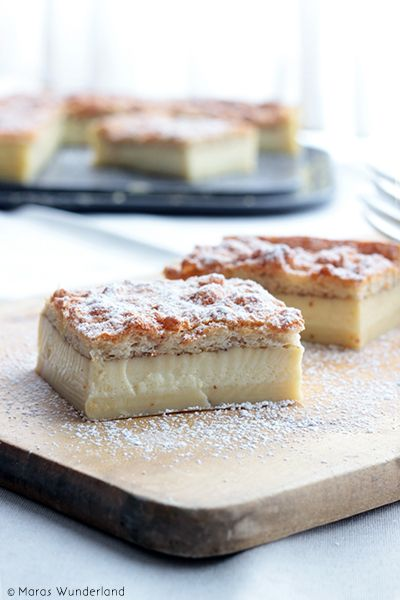 Magic Custard Cake ~ one dough in the oven, three layers come out, recipe is in German & English (scroll down)