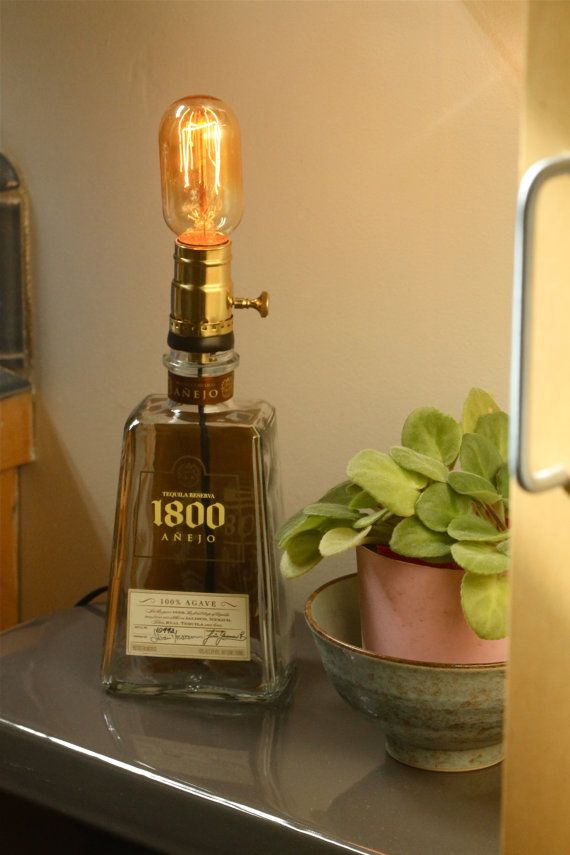 Recycled 1800 Tequila Bottle Lamp by GraffitiGlass on Etsy, $45.00