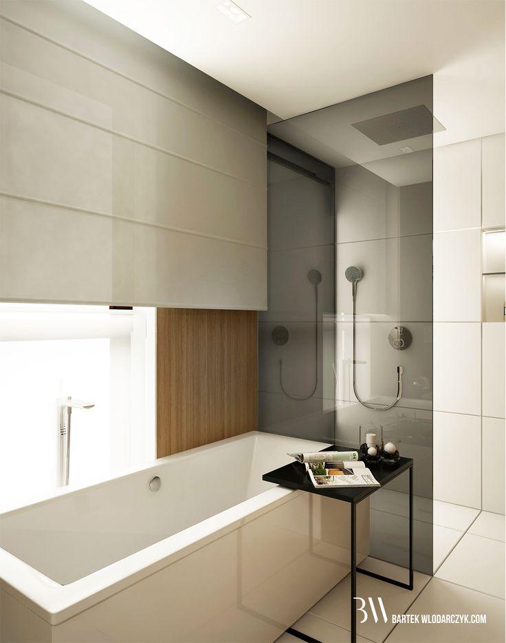 Minimalistyczna łazienka z podłogą Block White firmy Marazzi, wanną Squaro Slin firmy Villeroy&Boch oraz czarnym pomocnikiem