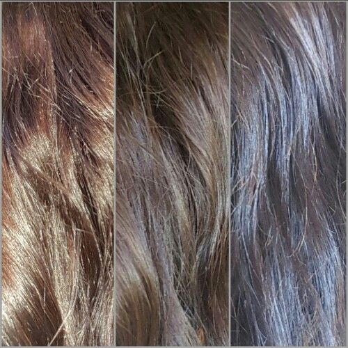 Wella Color Tango -6C Almond with 4 capfuls of Wella Cooling Violet additive. Natural level 6, orange underlying pigment. Done over Level 6.5 hair color.  Left to right in different lighting...Outside, By the door, Inside. My holy grail color! I have stubborn greys and this covers well. I can go 6 weeks till I touch up my roots!