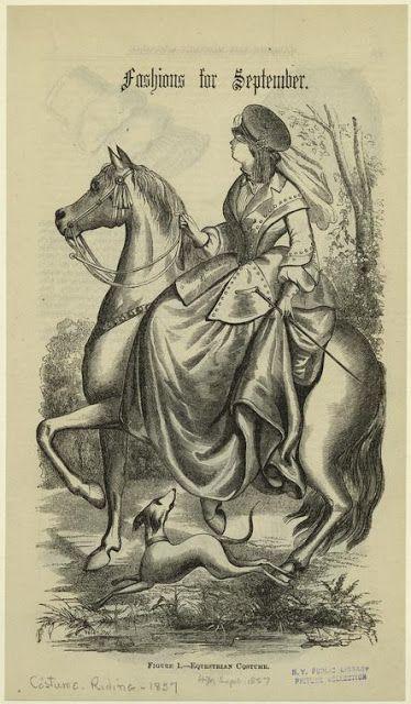 In the Swan's Shadow: Riding Habit: Harper's Magazine September 1857.  Civil War Era Fashion Plate