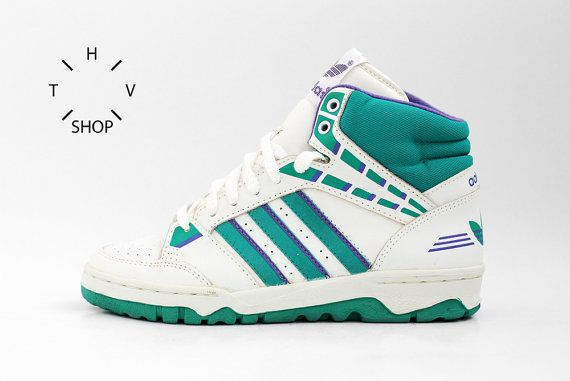4604115e3351ab NOS 1990 Adidas 2010 Hi vintage sneakers   Basketball hi tops   Deadstock  Unisex Trainers   bball association kicks   Made in Korea 90s