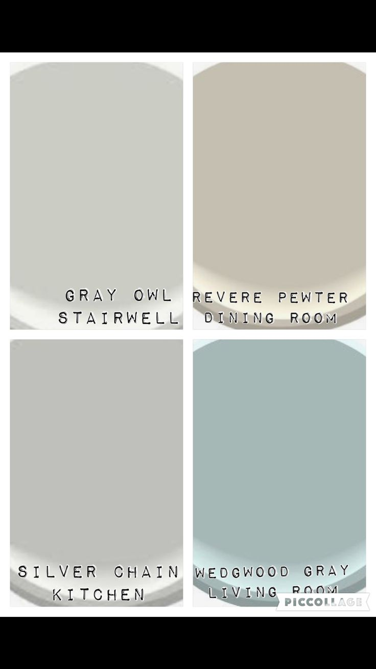 Color palate for downstairs and stairwell. Benjamin moore colors: gray owl, revere pewter, silver chain and wedgewood gray.