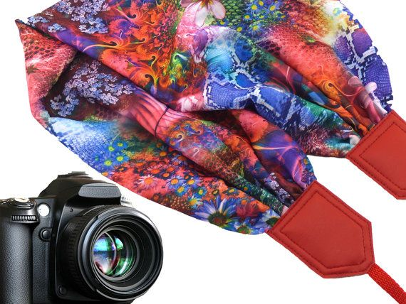 Red camera strap with floral pattern. DSLR / SLR Scarf Camera Strap. Camera accessories. Photo accessories. Colorful camera strap for Canon, Nikon, Fuji & other cameras. Great gift for women!  More Scarf camera straps wait you here: https://www.etsy.com/shop/InTePro?ref=hdr_shop_menu&search_query=scarf  If you decide to choose another design camera strap, please take a look here: https://www.etsy.com/shop/Intepro   --- Product de...