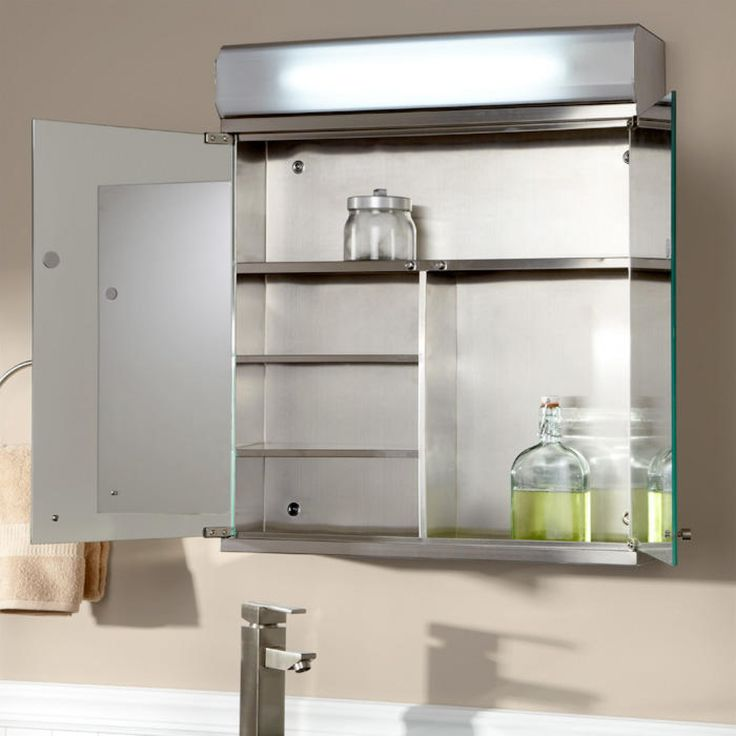 Picture Gallery For Website Delview Stainless Steel Lighted Medicine Cabinet with Mirror Bathroom
