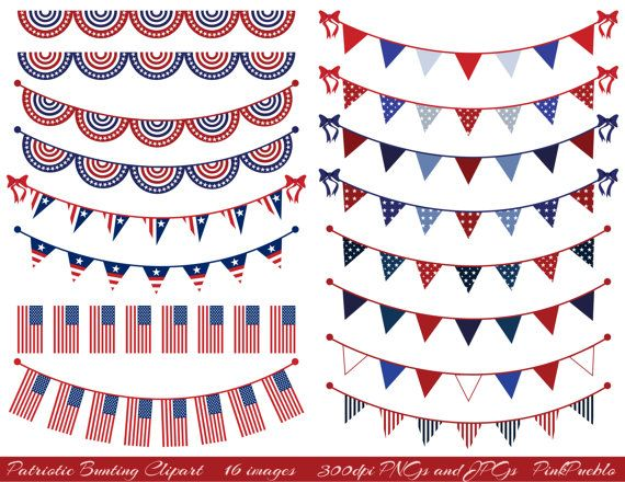 Patriotic Bunting Clipart Clip Art Fourth of July by PinkPueblo, $6.00