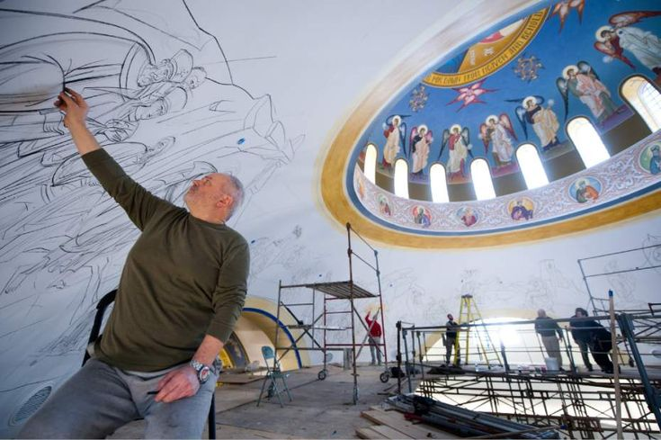 Iconographer Dr. George Kordis, 56, of Athens draws figures with charcoal along the dome of the new Holy Trinity Church in McCandless on Tuesday, April 16, 2013. The church, which has outgrown its location in Pittsburgh's North Side neighborhood, also is moving to be more central to its congregation, Father John Touloumes says.  Read more: http://triblive.com/news/allegheny/3844579-74/church-north-greek#ixzz2QiPOJzeB