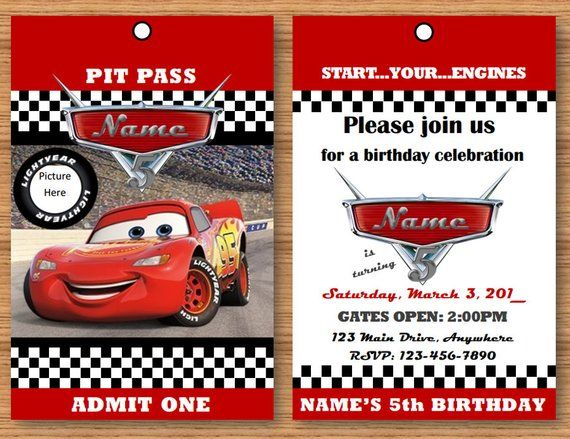 Cars 3 Pit Pass Birthday Invitation In 2019