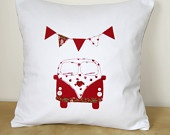 Handmade Cushion with Campervan and Bunting Applique