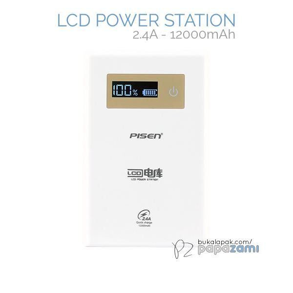 Pisen LCD Power Station 12000mAh (2.4A) (Apple White)  Product Name: LCD Power Station (2.4A) Brand: Pisen Type: Power Bank Weight: 248g Capacity: 12000mAh Battery Type: Original Grade A Lithium-ion Battery Dimension: 113.5 x 74 x 23mm Output: USB1: 5V==1A/2.4A, Out1+Out2: 5V==2.4A Input: 5V==2A  Pisen LCD Power Station 12000mAh (2.4A) * Charge 2 devices simultaneously * Conversion rate of higher than 90%. Delivers more power compared to power banks of similar capacity * Dual USB…