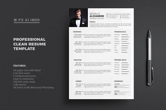 Resume Cv Resume Design Template Resume Template Clean Resume Template
