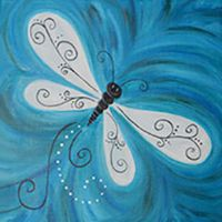 Social Artworking Canvas Painting Design - Dragonfly Drifting By
